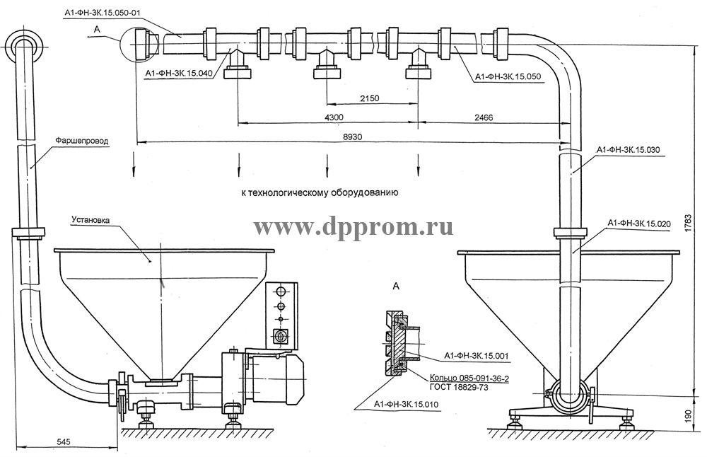 Установка для транспортировки фарша А1-ФН-ЗК - фото 24924