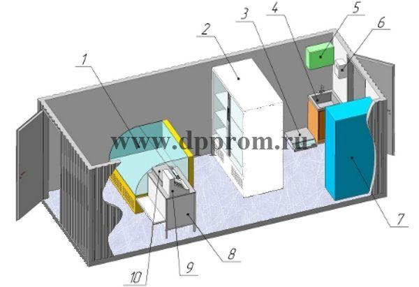 Модульный магазин контейнерного типа ДПП-МК