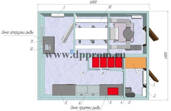 Модульный цех для копчения рыбы ДПП-СК300 - фото 38211