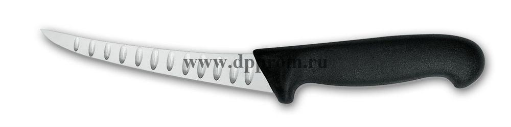 Нож обвалочный 2505wwl15 см, средней жесткости черный, лезвие с желобками