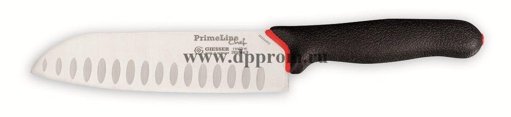 Нож сантоку Prime Line 218269 wwl 18 см, лезвие с желобками черный