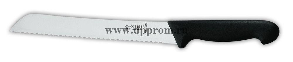 Нож для хлеба 8355 w 18 см с волнистым лезвием черный