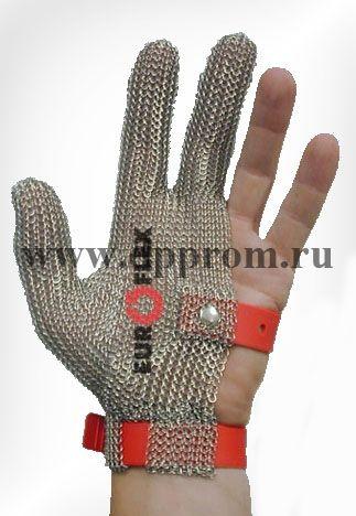 Перчатки кольчужные на 3 пальца крас. Euroflex Comfort 9590-33