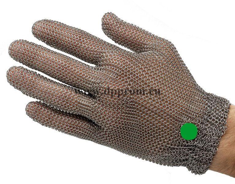 Перчатки кольчужные с метал. резинкой зеленые WILCO XS