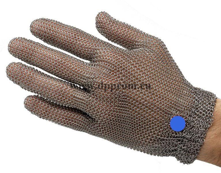 Перчатки кольчужные с метал. резинкой синие WILCO L