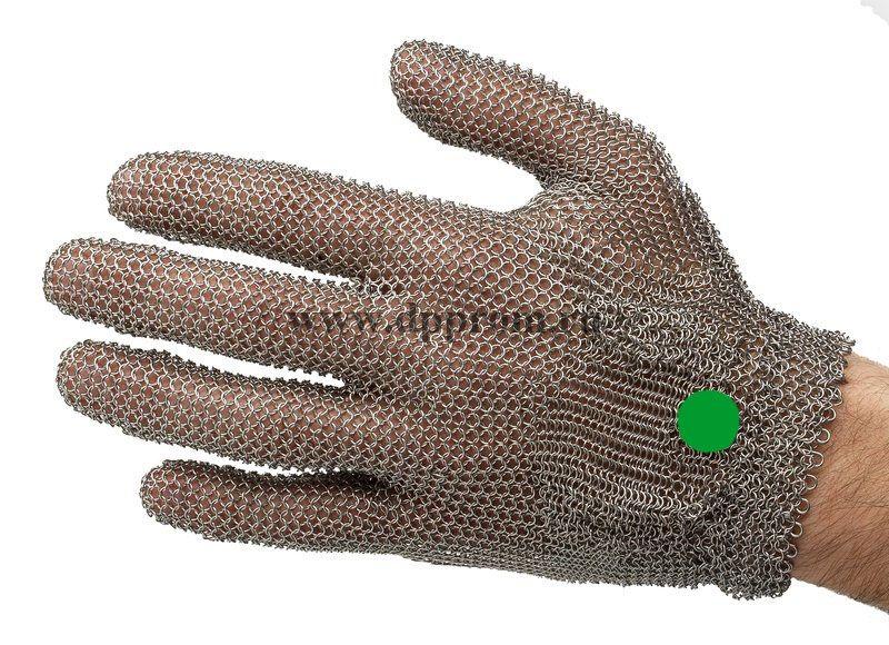Перчатки кольчужные с метал. ремешком зеленые WILCOFLEX XS