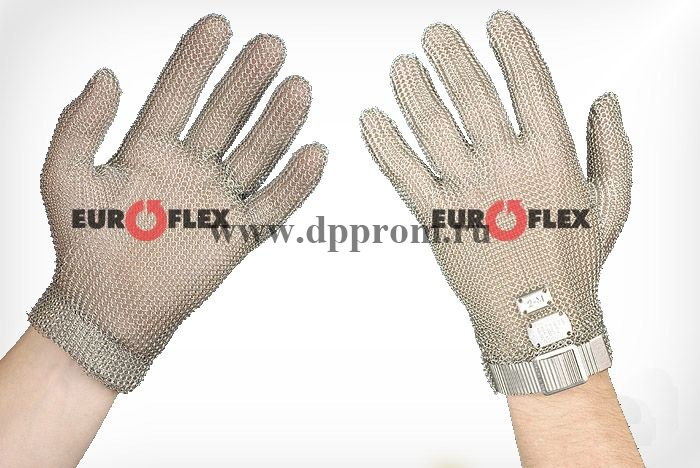 Перчатки кольчужные с метал. ремешком красные Euroflex Comfort 9590-3m