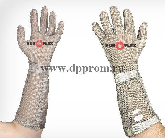 Перчатки кольчужные с метал. ремешком красные Euroflex Comfort 9590-3m-15