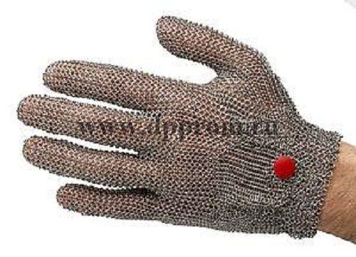 Перчатки кольчужные с метал. ремешком красные WILCOFLEX M