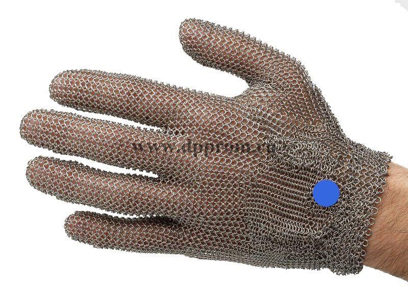 Перчатки кольчужные с метал. ремешком синие WILCOFLEX L