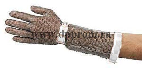 Перчатки кольчужные с полиур. ремешком белые с манжетой 7,5 см OGCA