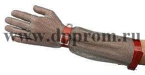 Перчатки кольчужные с полиур. ремешком красные с манжетой 7,5 см OGCA