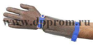 Перчатки кольчужные с полиур. ремешком синие с кнопкой OGCA с манжетом 20 см