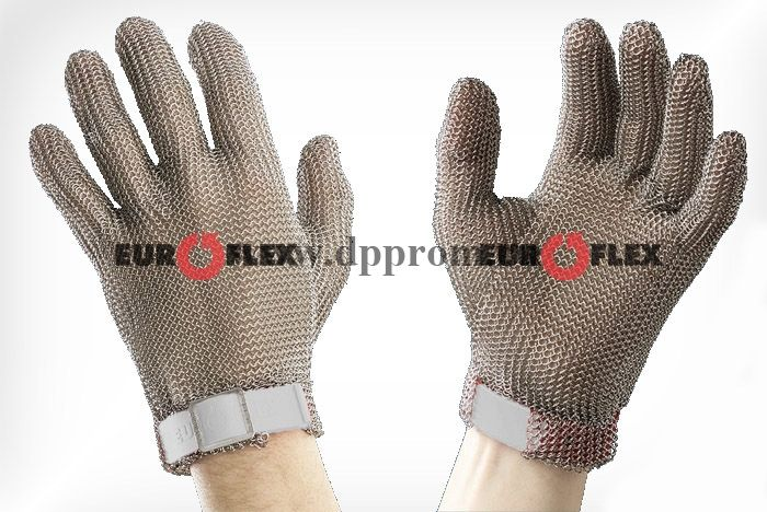 Перчатки кольчужные с полиэстер. ремешком бел. Euroflex Comfort 9590-2