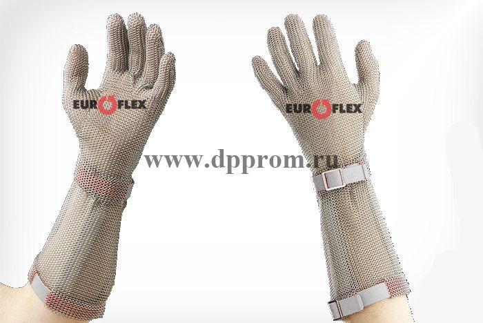 Перчатки кольчужные с полиэстер. ремешком бел. Euroflex Comfort 9590-2-15