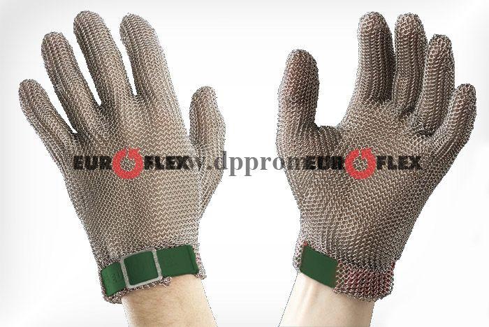 Перчатки кольчужные с полиэстер. ремешком зел. Euroflex Comfort 9590-1