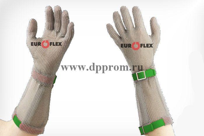 Перчатки кольчужные с полиэстер. ремешком зел. Euroflex Comfort 9590-1-15
