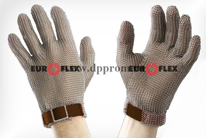 Перчатки кольчужные с полиэстер. ремешком коричн. Euroflex Comfort 9590-0