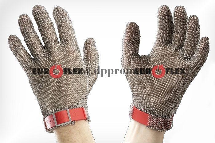 Перчатки кольчужные с полиэстер. ремешком красн. Euroflex Comfort 9590-3