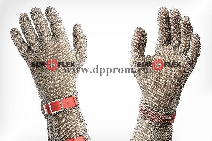 Перчатки кольчужные с полиэстер. ремешком красн. Euroflex Comfort 9590-3-08