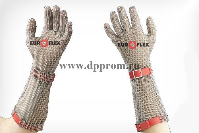 Перчатки кольчужные с полиэстер. ремешком красн. Euroflex Comfort 9590-3-15