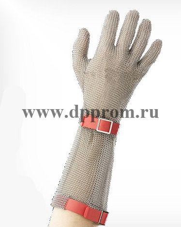 Перчатки кольчужные с полиэстер. ремешком красн. Euroflex Comfort 9590-3r-19