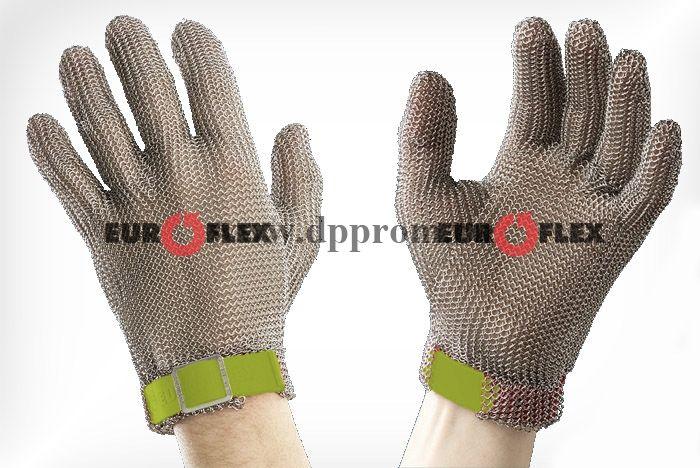Перчатки кольчужные с полиэстер. ремешком оливк. Euroflex Comfort 9590-6