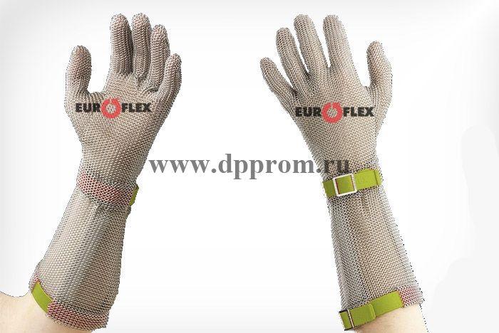 Перчатки кольчужные с полиэстер. ремешком оливк. Euroflex Comfort 9590-6-19
