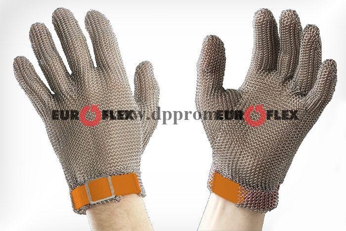 Перчатки кольчужные с полиэстер. ремешком оранж. Euroflex Comfort 9590-5