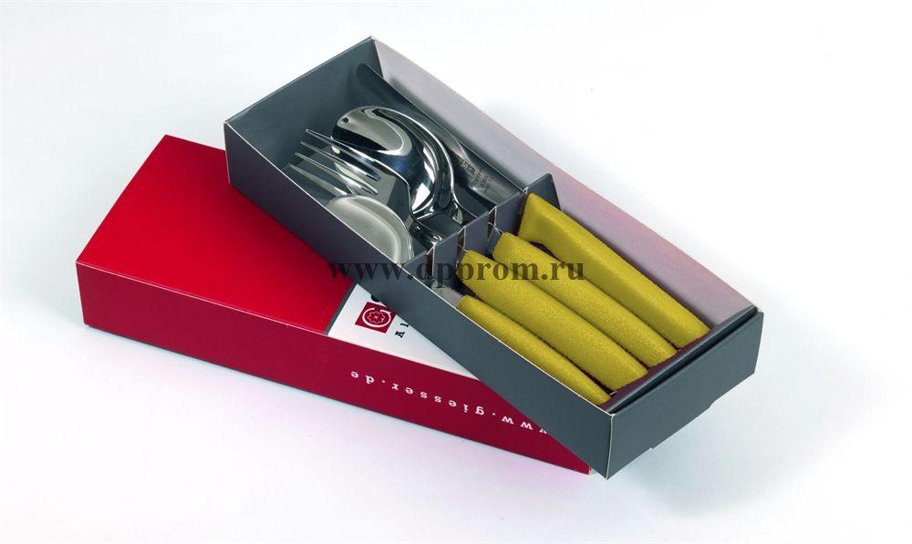 Набор столовых приборов 9879 желтый 4 предмета