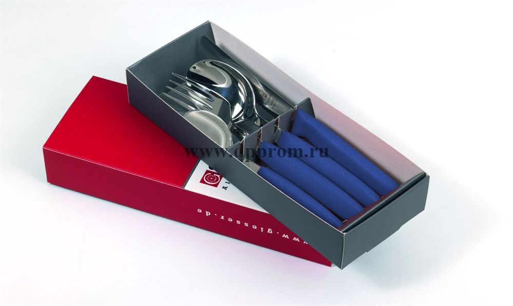 Набор столовых приборов 9879 синий 4 предмета