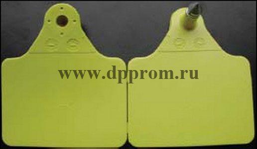 Бирки для коров, желтого цвета, без нумерации, упаковка 100 шт. Размер 7,0 х 6,2 см.