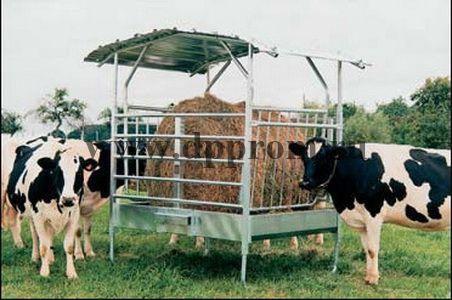 Групповая пастбищная кормушка для коров, с крышей