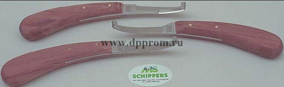 Копытный нож Аескулап ВС 315, двойная заточка, деревянная ручка