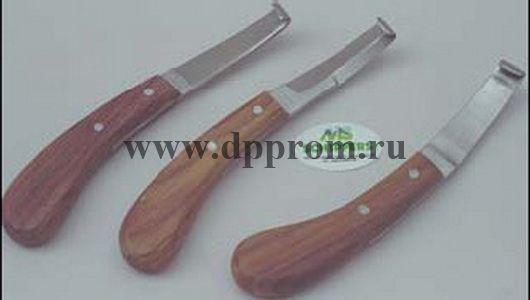 Копытный нож МС, левая заточка, широкое лезвие, деревянная ручка