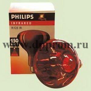 Инфракрасная лампа для обогрева Филипс, красная, 150 Вт.