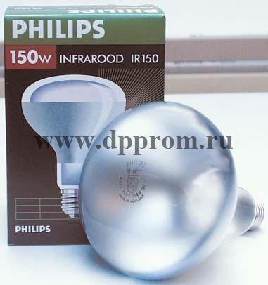 Инфракрасная лампа для обогрева Филипс, красная, 250 Вт.