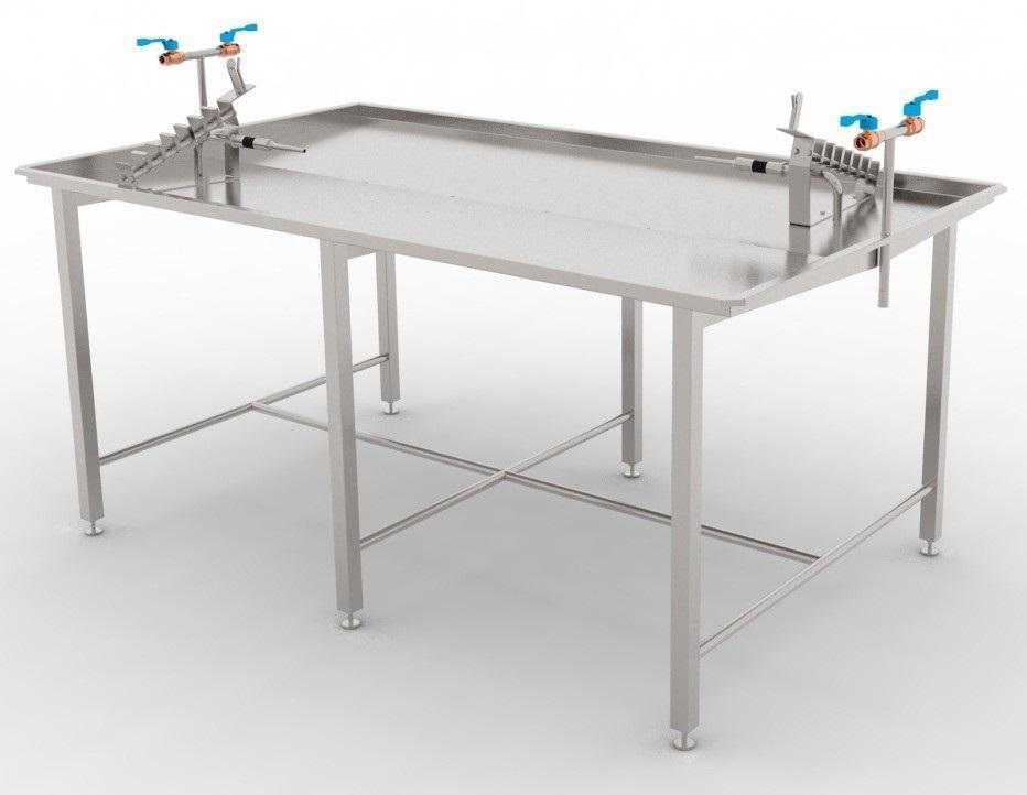 Калибровочно-проливочный стол на два или одно рабочее место для проливки/продувки, калибровки черевы свиней/КРС/МРС BW-TC